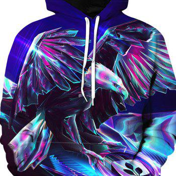 Fashionable Metal Eagle Print Hoodie - BLUE M