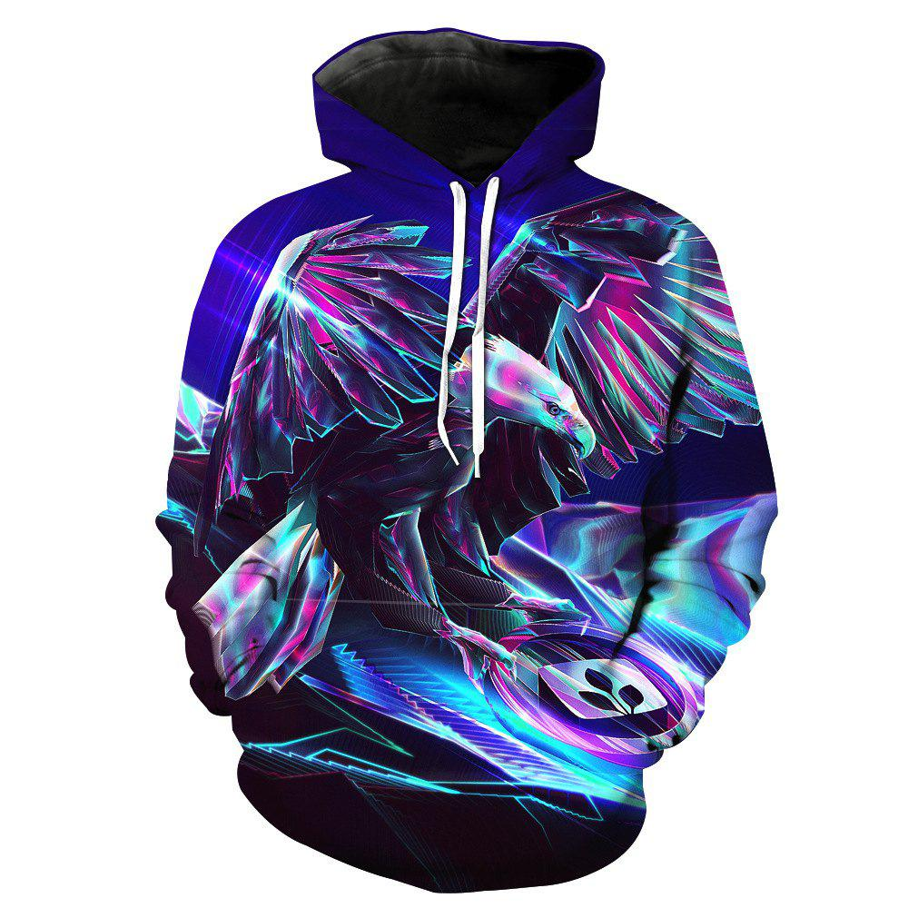 Fashionable Metal Eagle Print Hoodie - BLUE 2XL