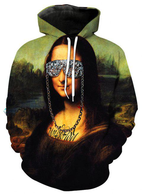 Mona Lisa Stylish Printed Hoodie - FLORAL 5XL