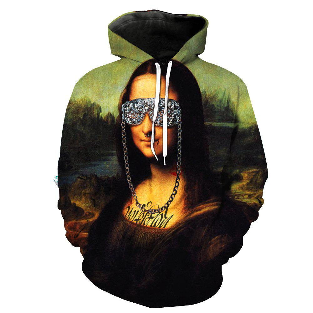 Mona Lisa Stylish Printed Hoodie - FLORAL XL