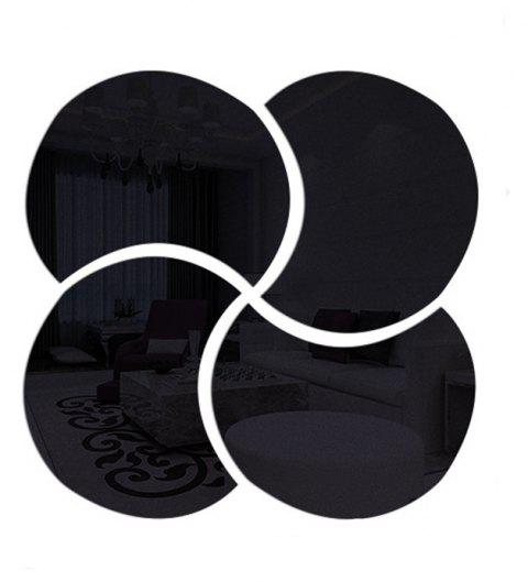 3D Stereoscopic Remover PS Paste Round Mirror Home Decoration Wall Stickers - BLACK 28X28CM