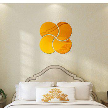 3D Stereoscopic Remover PS Paste Round Mirror Home Decoration Wall Stickers - GOLDEN 28X28CM