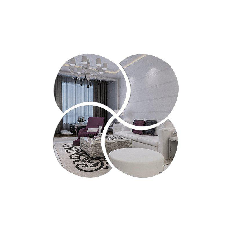 3D Stereoscopic Remover PS Paste Round Mirror Home Decoration Wall Stickers - SILVER 28X28CM