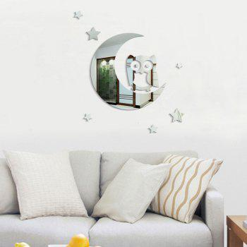 Wall Sticker Children Room Solid Glass Mirror Crescent Owl Kindergarten - SILVER 40 X 45CM
