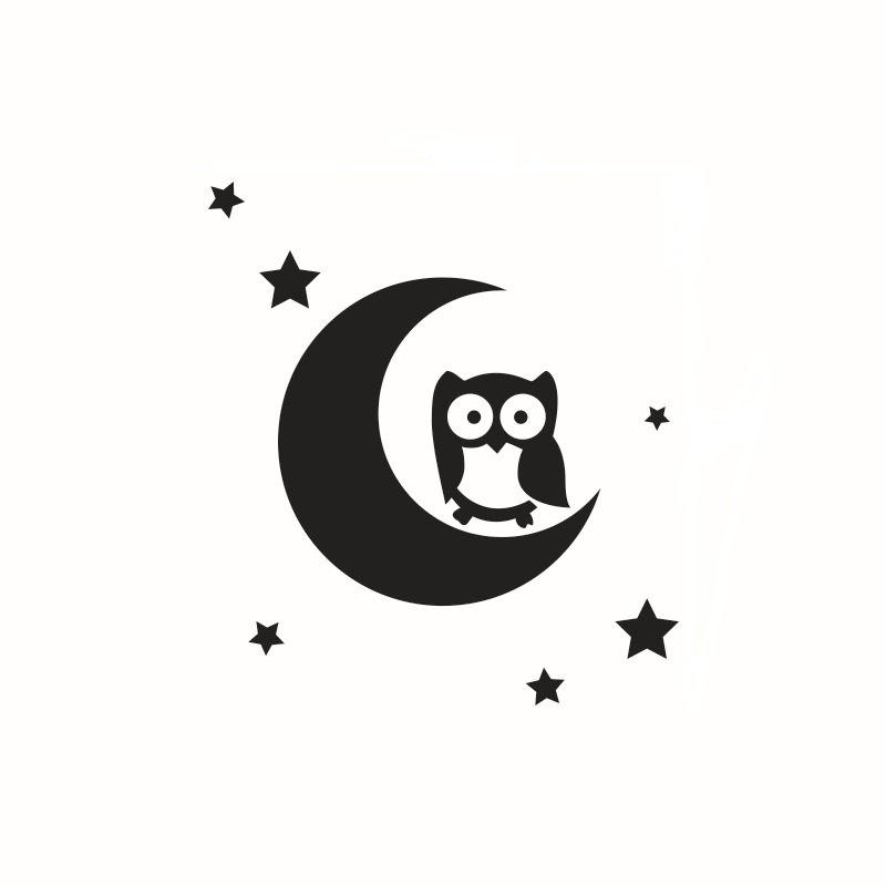 Wall Sticker Children Room Solid Glass Mirror Crescent Owl Kindergarten - BLACK 40 X 45CM