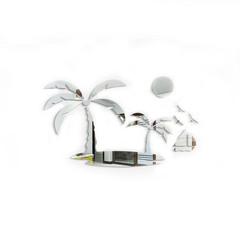 PS Crystal 3D Wallpaper Pasted Coconut Island Stereoscopic Mirror - SILVER 50 X 30CM