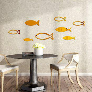 Underwater World Fish Mirror Pasted Bathroom Parlor Bedroom Decoration 3D Wall Stickers - GOLDEN 90X33CM