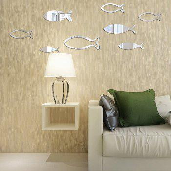 Underwater World Fish Mirror Pasted Bathroom Parlor Bedroom Decoration 3D Wall Stickers - SILVER 90X33CM