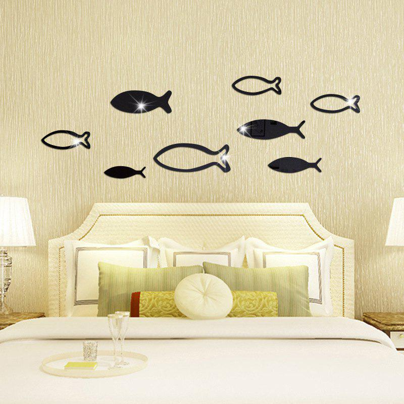 Underwater World Fish Mirror Pasted Bathroom Parlor Bedroom Decoration 3D Wall Stickers - BLACK 90X33CM
