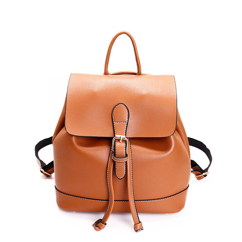 Small Fresh and Trendy Wild Trend Simple Cute Large-Capacity Backpack - BROWN