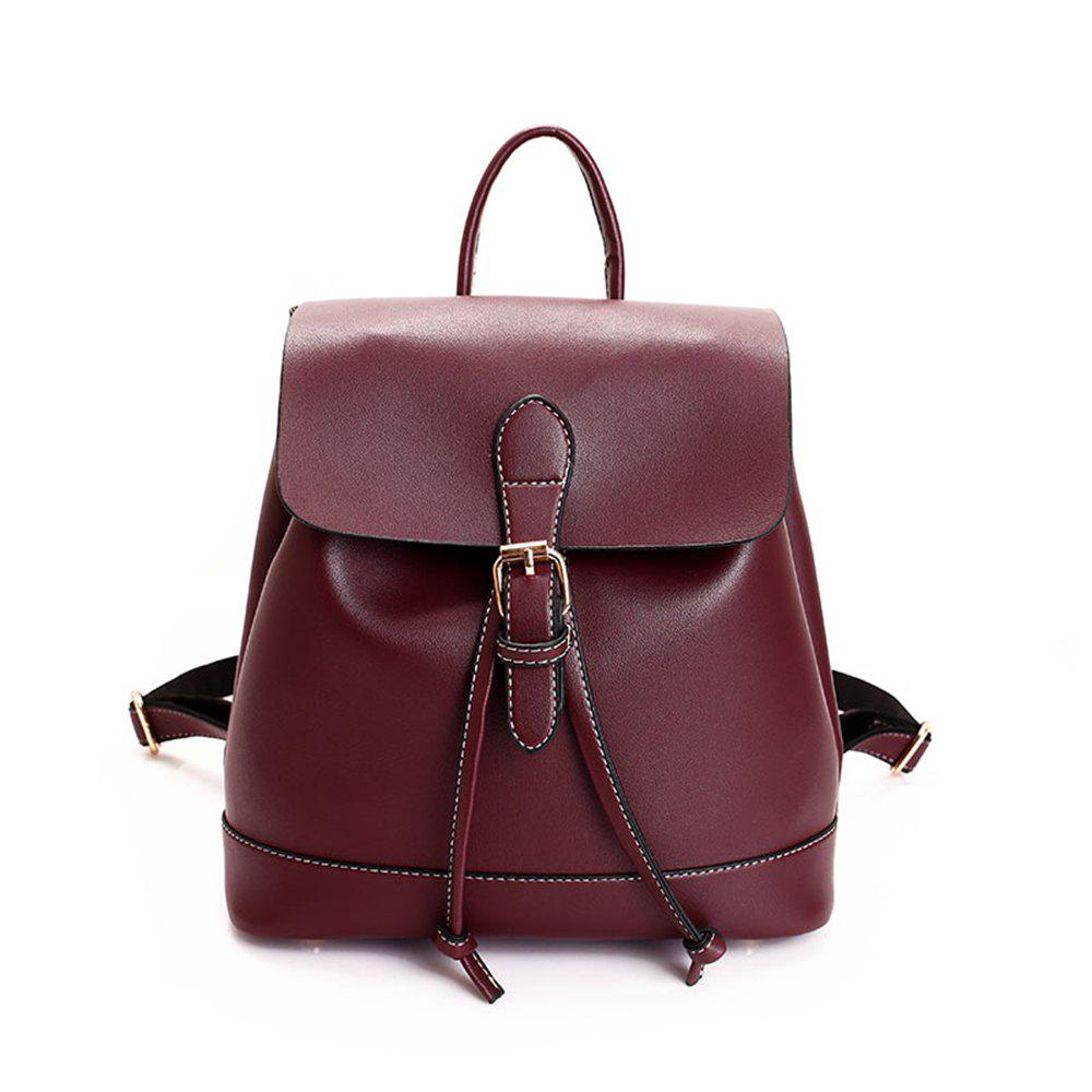 Small Fresh and Trendy Wild Trend Simple Cute Large-Capacity Backpack - WINE RED