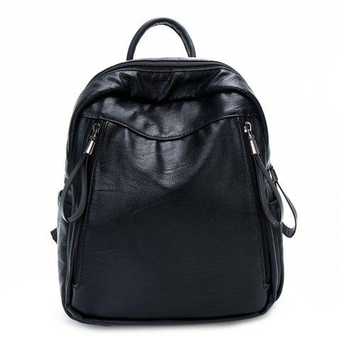 PU large capacity wild trendy female backpack - BLACK