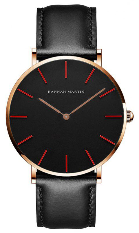 Hannah Martin Trendy Business Casual Unisex Thin Band Watch - BLACK/RED