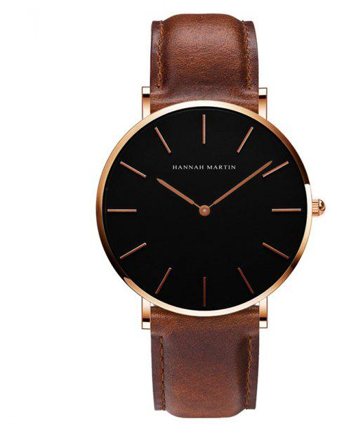 Hannah Martin Trendy Business Casual Unisex Thin Band Watch - BROWN
