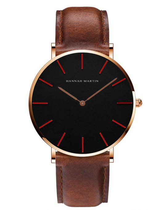 Hannah Martin Trendy Business Casual Unisex Thin Band Watch - BROWN/GOLD