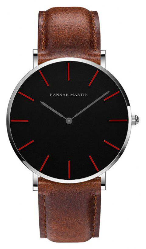 Hannah Martin Trendy Business Casual Unisex Thin Band Watch - BROWN/BLACK