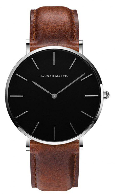 Hannah Martin Trendy Business Casual Unisex Thin Band Watch - BROWN/WHITE