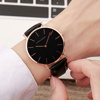 Hannah Martin Trendy Business Casual Unisex Thin Band Watch - BLACK/GOLD