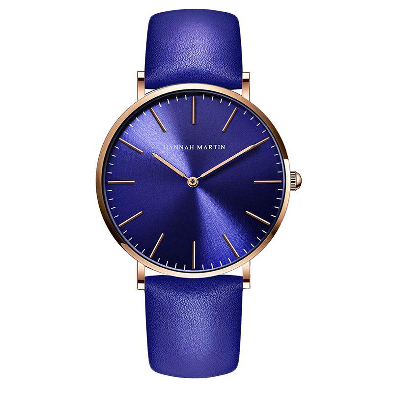 Hannah Martin  Men's Movement Business Casual Thin Waterproof Quartz Watch - BLUE/GOLD
