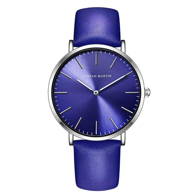 Hannah Martin  Men's Movement Business Casual Thin Waterproof Quartz Watch - BLUE/WHITE
