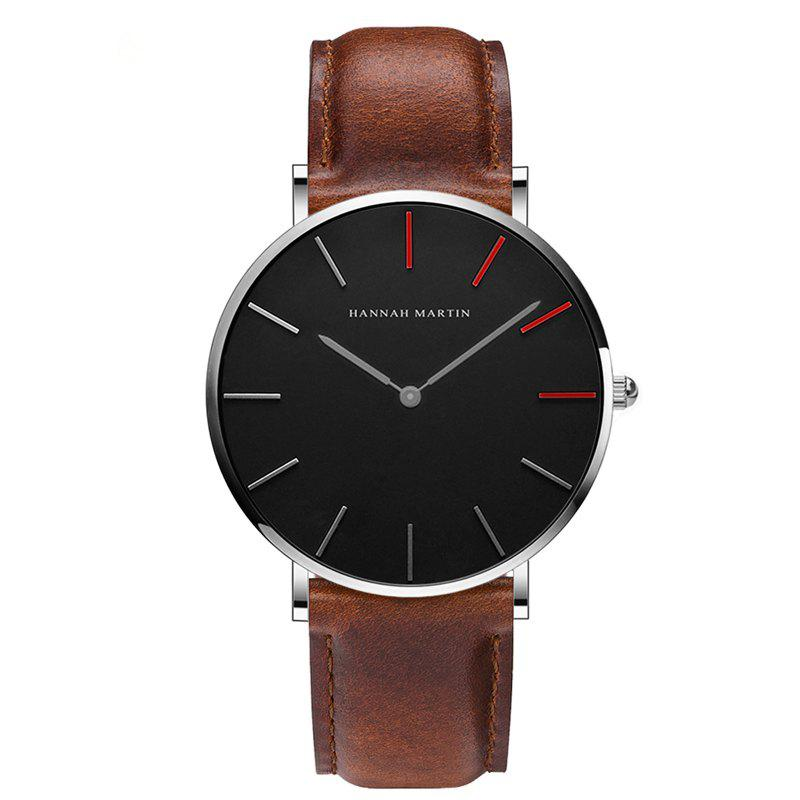 Hannah Martin Japanese Movement Waterproof Ultra-Thin Fashion Casual Quartz Watch - BROWN/WHITE