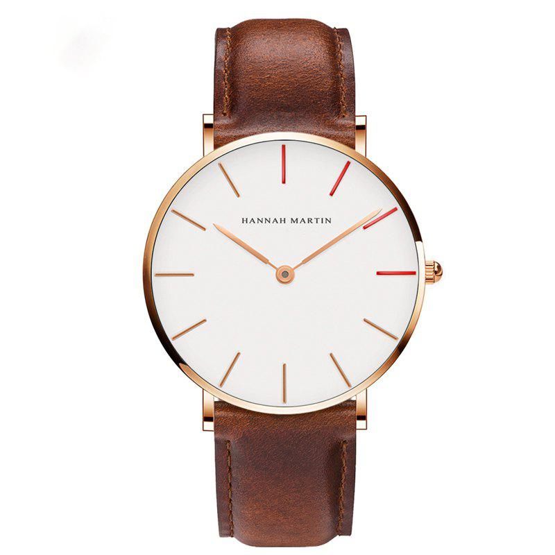 Hannah Martin Japanese Movement Waterproof Ultra-Thin Fashion Casual Quartz Watch - BROWN