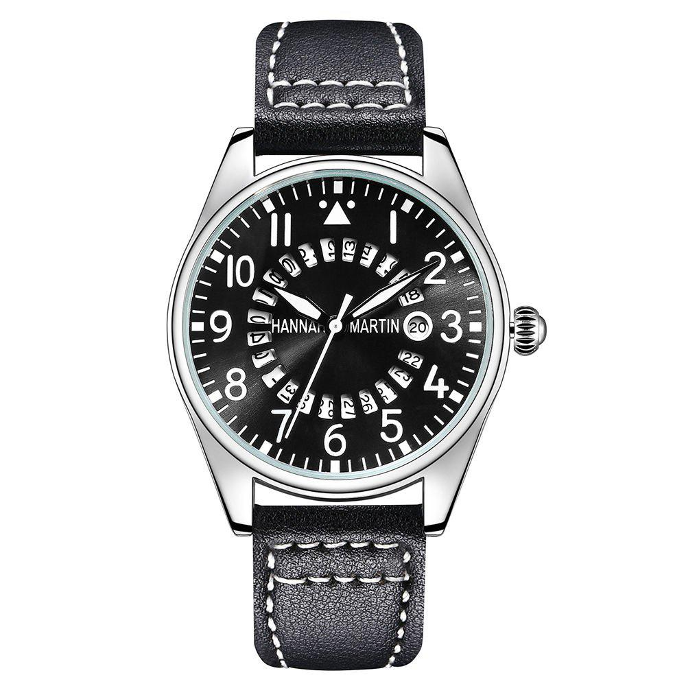 Hannah Martin Men Pilots Sports Waterproof Army Belt Watch - BLACK
