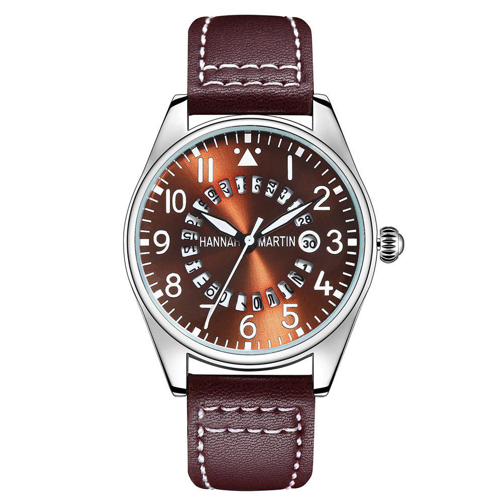Hannah Martin Men Pilots Sports Waterproof Army Belt Watch - BROWN