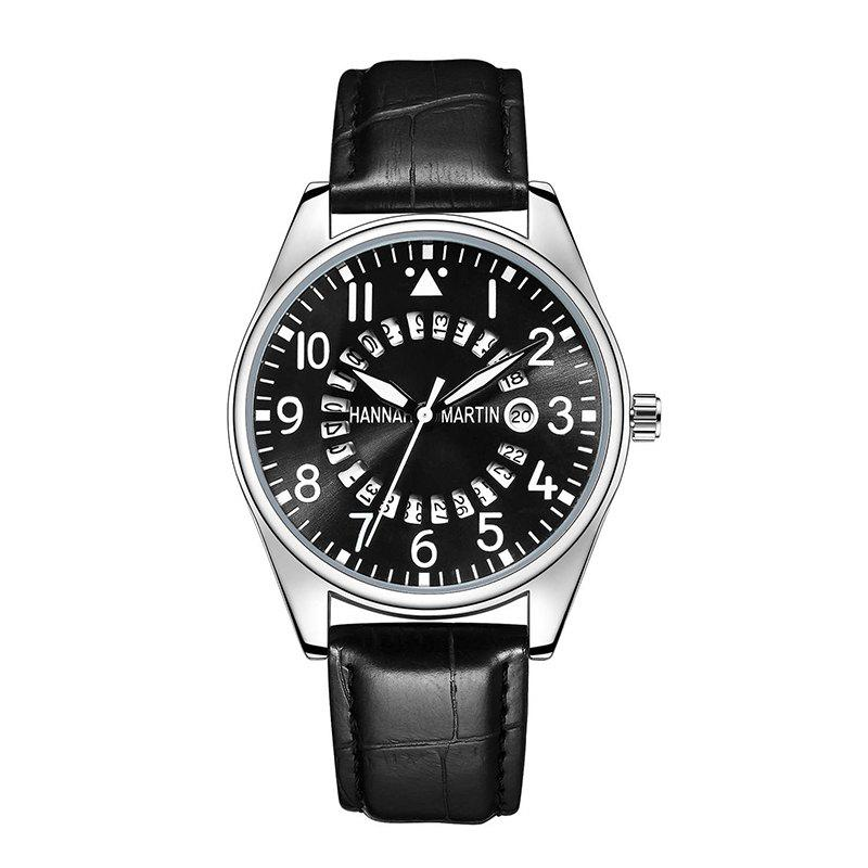 Hannah Martin Men Casual Fashion Pilots Calendar Waterproof Quartz Watch - BLACK/WHITE