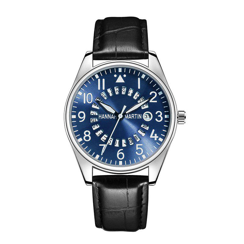 Hannah Martin Men Casual Fashion Pilots Calendar Waterproof Quartz Watch - BLACK/BLUE