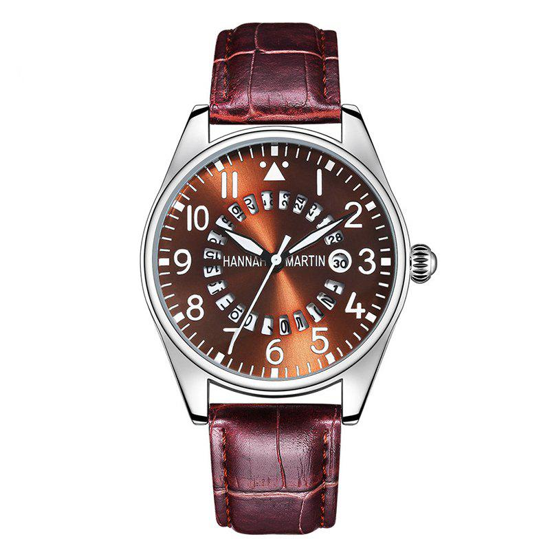 Hannah Martin Men Casual Fashion Pilots Calendar Waterproof Quartz Watch - BROWN