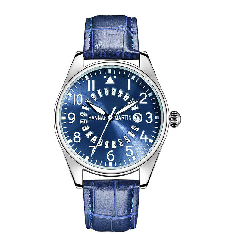 Hannah Martin Men Casual Fashion Pilots Calendar Waterproof Quartz Watch - BLUE