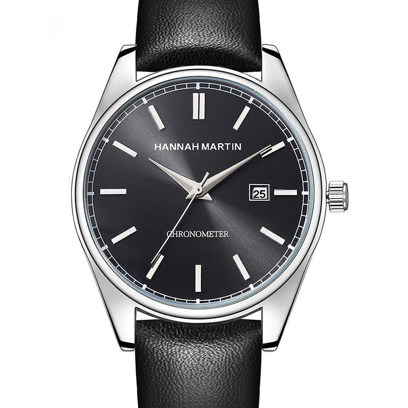 Hannah Martin Men Sports Leisure Fashion Waterproof Calendar Quartz Watches - BLACK
