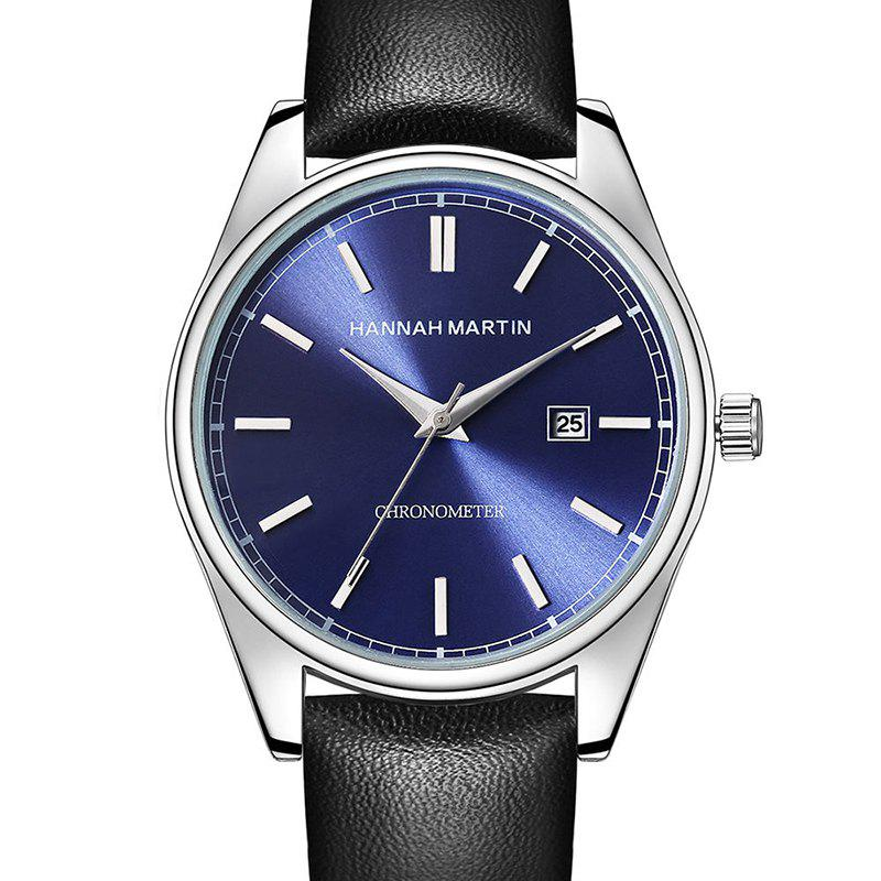 Hannah Martin Men Sports Leisure Fashion Waterproof Calendar Quartz Watches - BLACK/BLUE