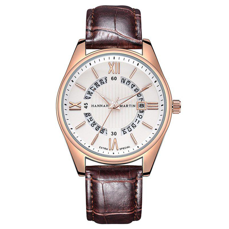 Hannah Martin KY14 Men IP Plating New Business Stylish Waterproof Quartz Watch - BROWN