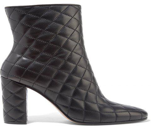2018 New Black Rough Heel Plaid Simple Ladies Boots - BLACK 38