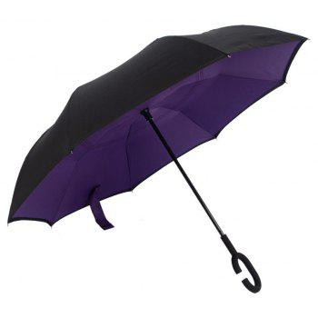 New Modern Upside Down Reverse C-Handle Double Layer Umbrella - PURPLE