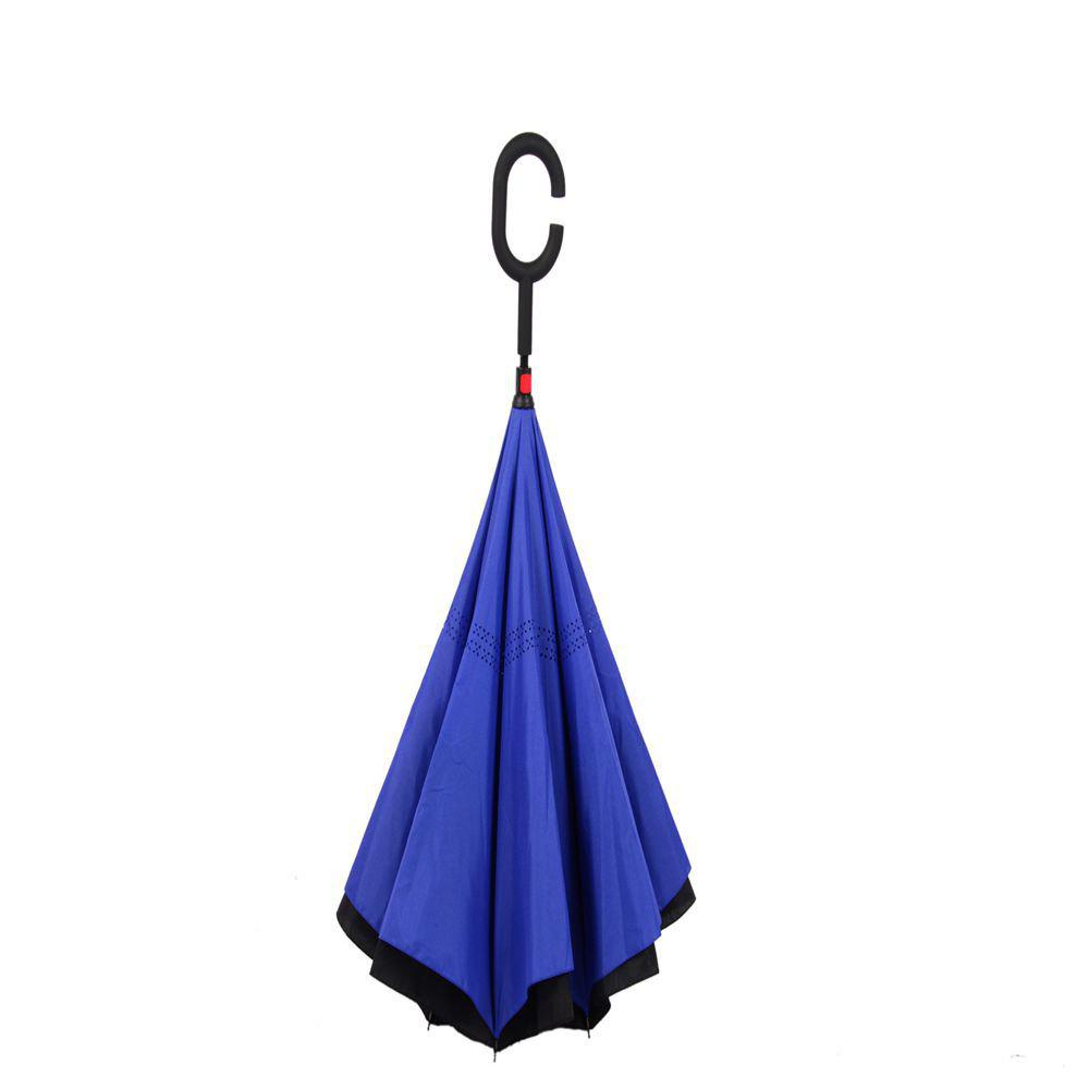 Double Layer Inverted Umbrella with Stand Alone Feature - Inside Out Umbrella - BLUE