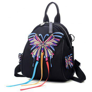 High Quality 3D Embroidery Women Backpacks Ladies Shoulder Bags School Girls - BLACK