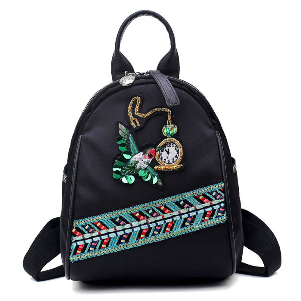 High Quality 3D Embroidery Women Backpacks Ladies Shoulder Bags School Girls - BLACK PURPLE