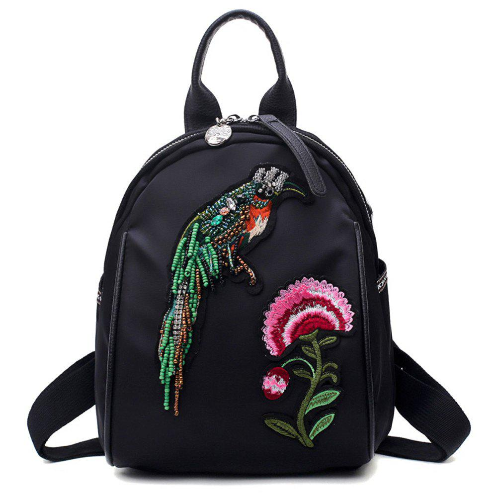 High Quality 3D Embroidery Women Backpacks Ladies Shoulder Bags School Girls - BLACK/RED