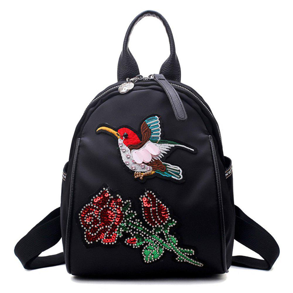 High Quality 3D Embroidery Women Backpacks Ladies Shoulder Bags School Girls - BLACK BROWN