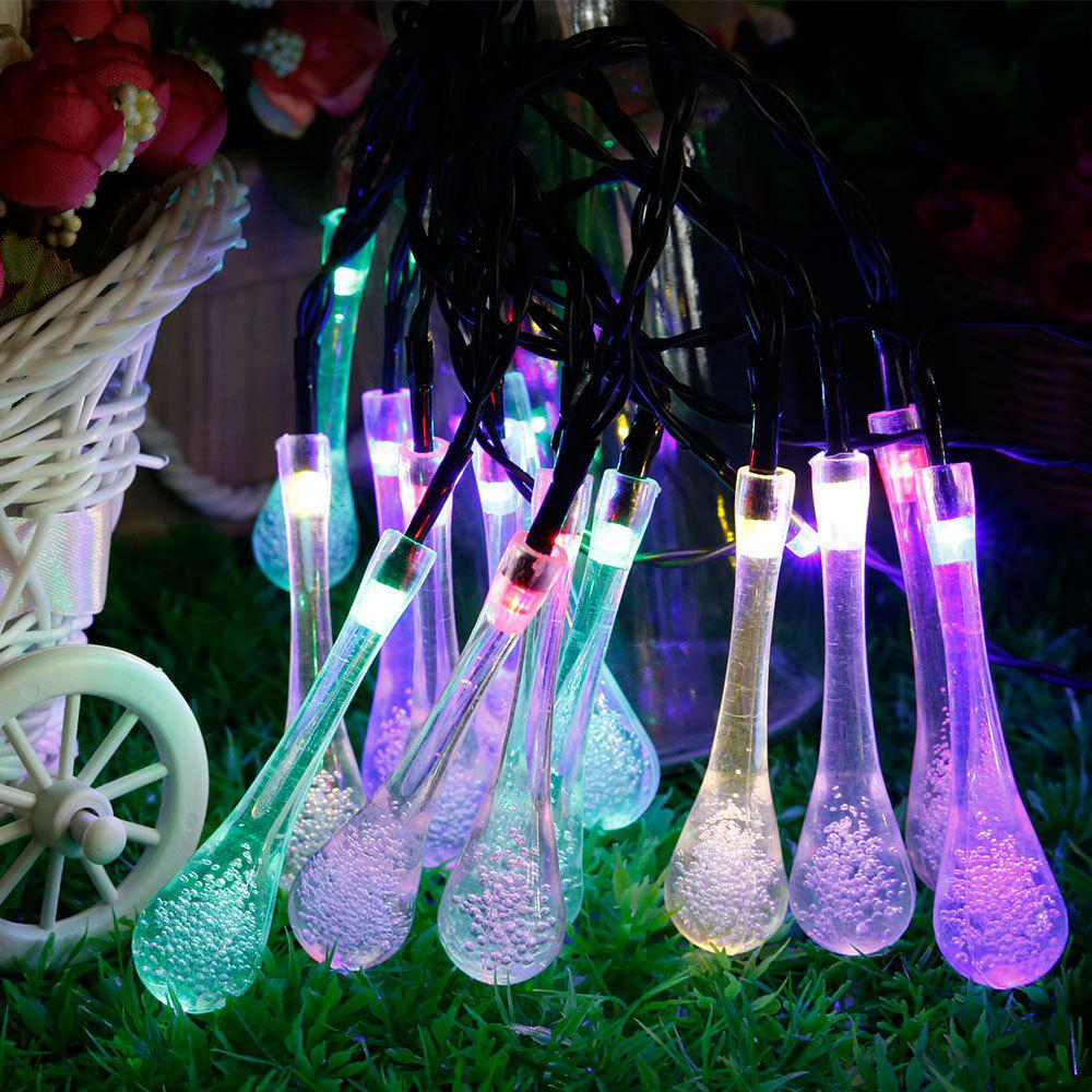 GMY Solar Raindrop String Lights 30 Led Indoor Outdoor Water Drop Lights For Garden Party Fence Pat - RGB