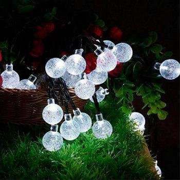 GMY Lighting 30 Led Solar Crystal Ball Christmas Lights String Garden Holiday Party Decorate 28.3 Feet 2V Cold White - COLD WHITE
