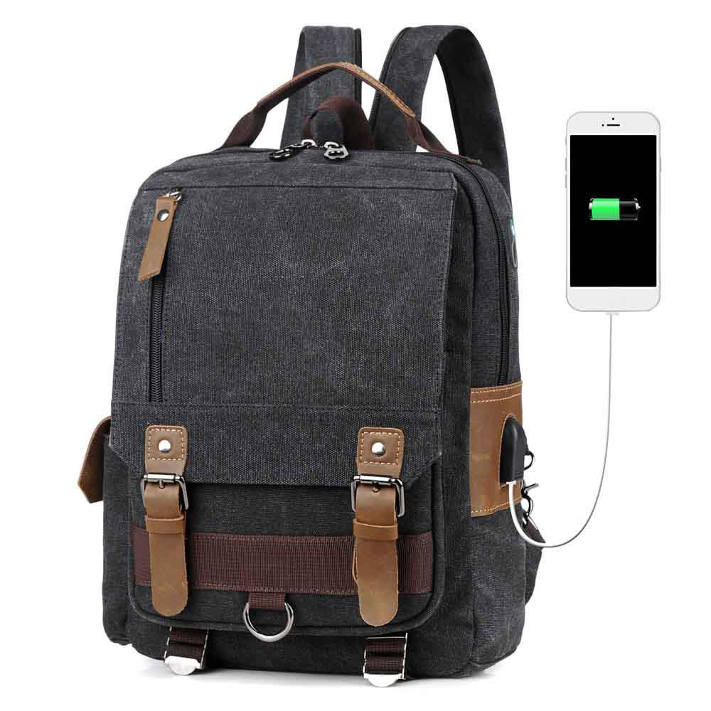 USB Port Canvas and Crazy Horse Leaper Cross Body Messenger Shoulder Backpack Travel Rucksack Sling Bag - BLACK