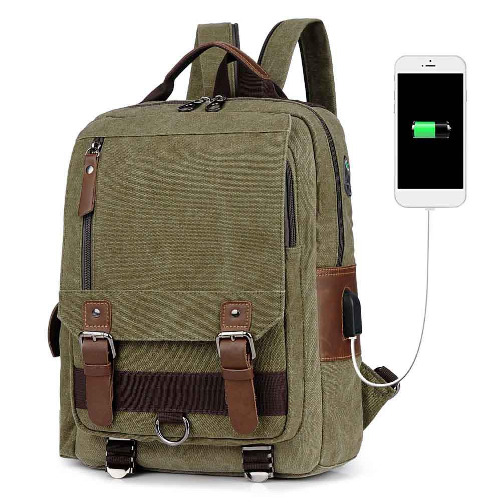 USB Port Canvas and Crazy Horse Leaper Cross Body Messenger Shoulder Backpack Travel Rucksack Sling Bag - ARMYGREEN