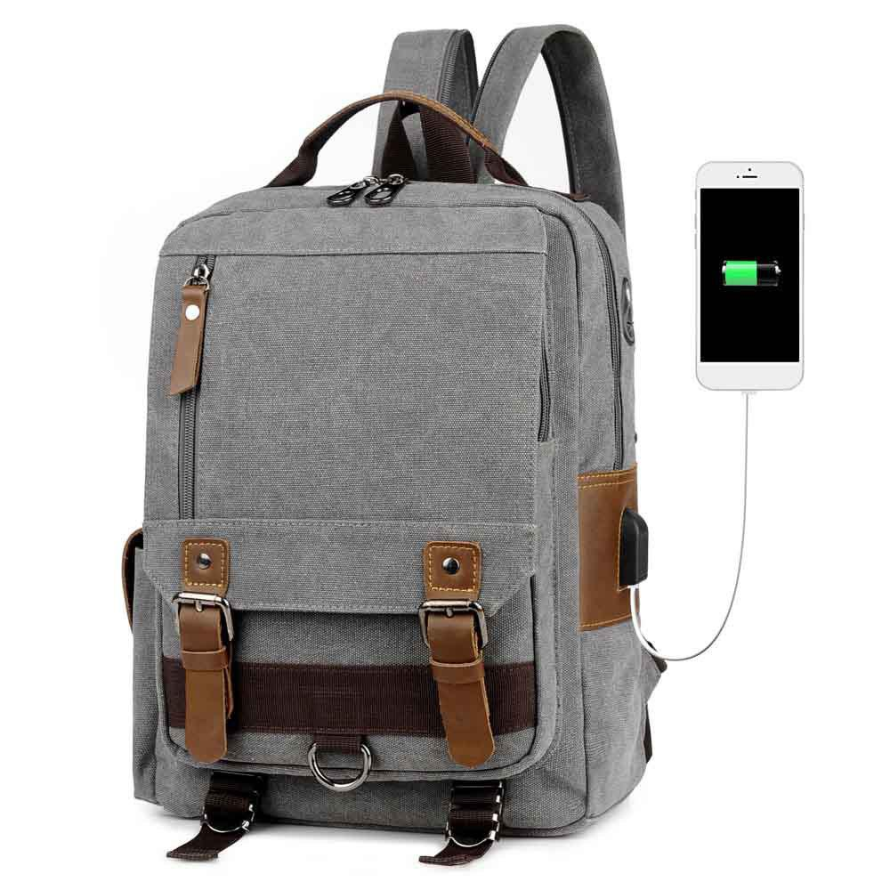 USB Port Canvas and Crazy Horse Leaper Cross Body Messenger Shoulder Backpack Travel Rucksack Sling Bag - GRAY