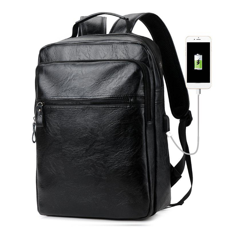 Men PU Leather Laptop Waterproof Casual Travel Large Capacity School Backpack with USB - BLACK