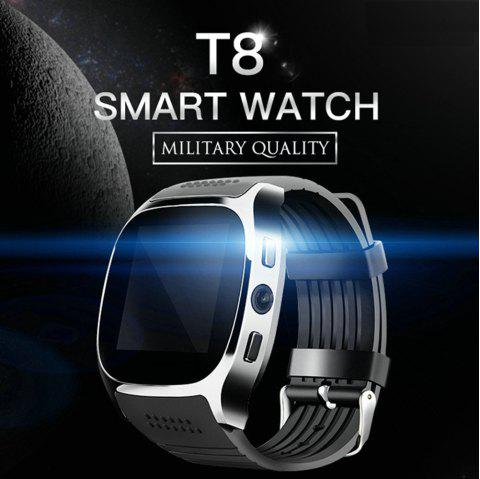 T8 Bluetooth Smart Watch Smart Watch With Camera Facebook Whatsapp Support SIM TF Card Call Smartwatch For Android - BLACK