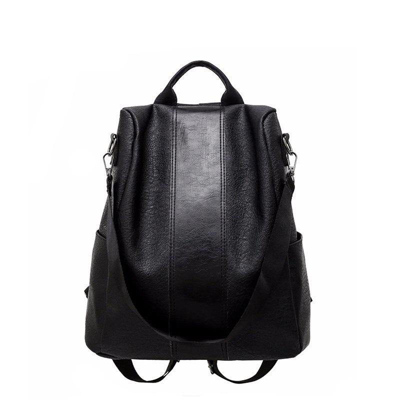 Double Shoulder Female New Fashion Style Soft Fabric Personality Student Bag Mommy Backpack - BLACK VERTICAL
